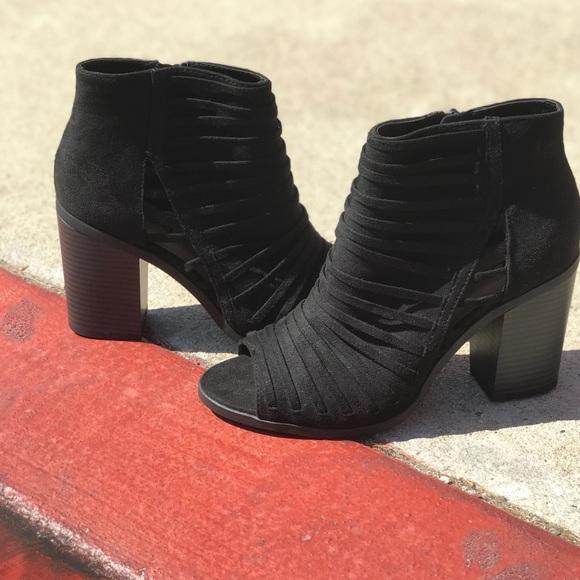 "486b03b6cb1 Soda black on black banded peep toe 3.25"" booties"